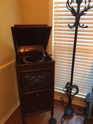 Record Player and Coat Rack